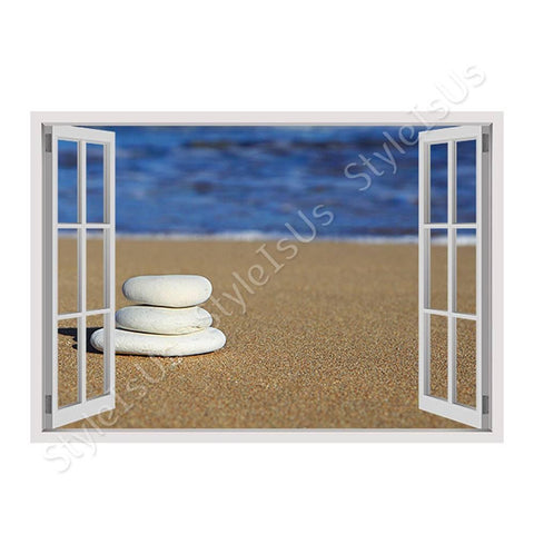 Fake 3D Window Stones on the beach | Canvas, Posters, Prints & Stickers - StyleIsUS.com