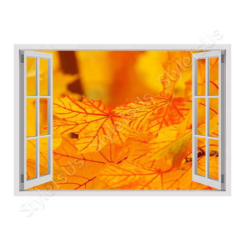 Fake 3D Window Autumns Leaves | Canvas, Posters, Prints & Stickers - StyleIsUS.com