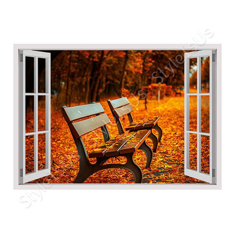 Fake 3D Window Bench in a Park | Canvas, Posters, Prints & Stickers - StyleIsUS.com
