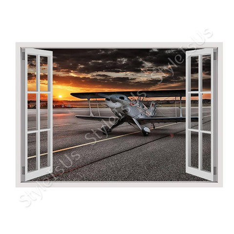 Fake 3D Window Aircraft in the sunrise | Canvas, Posters, Prints & Stickers - StyleIsUS.com