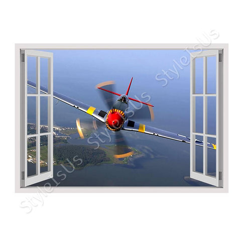 Fake 3D Window Planes Propeller | Canvas, Posters, Prints & Stickers - StyleIsUS.com