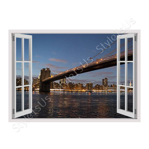 Fake 3D Window Brooklyns Bridge | Canvas, Posters, Prints & Stickers - StyleIsUS.com