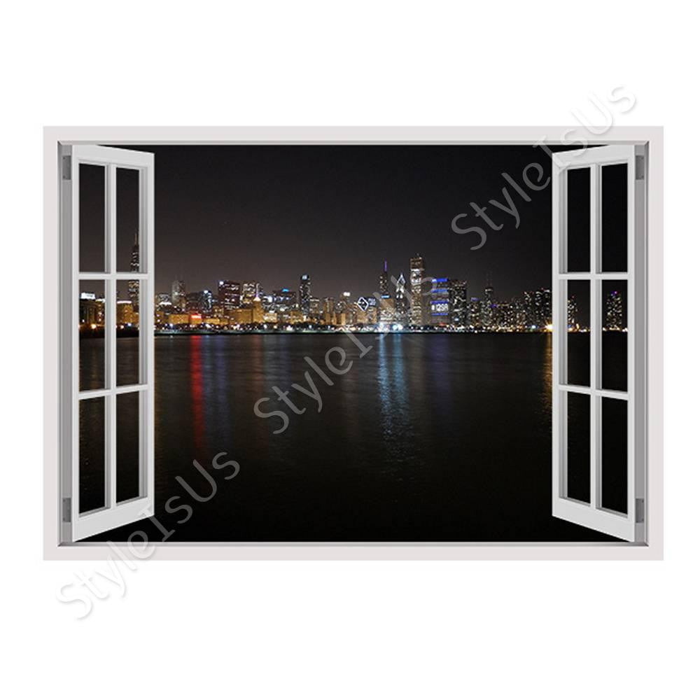 Fake 3D Window Chicago at Night | Canvas, Posters, Prints & Stickers - StyleIsUS.com