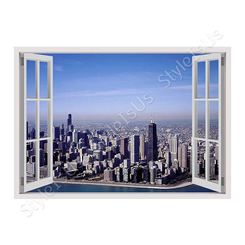 Fake 3D Window Chicagos Skyline | Canvas, Posters, Prints & Stickers - StyleIsUS.com