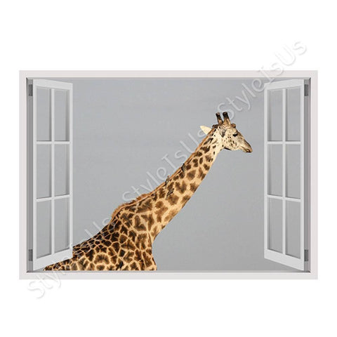 Fake 3D Window Africas Giraffe | Canvas, Posters, Prints & Stickers - StyleIsUS.com