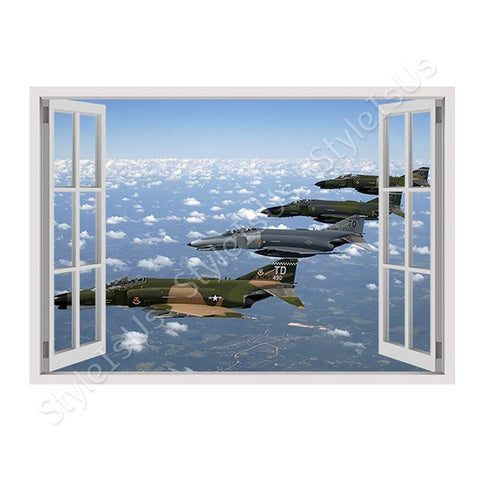 Fake 3D Window Air Force Fighter Jet | Canvas, Posters, Prints & Stickers - StyleIsUS.com