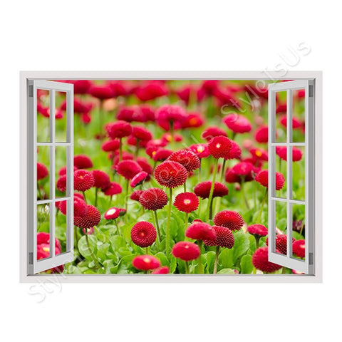 Fake 3D Window Blooming Flowers | Canvas, Posters, Prints & Stickers - StyleIsUS.com