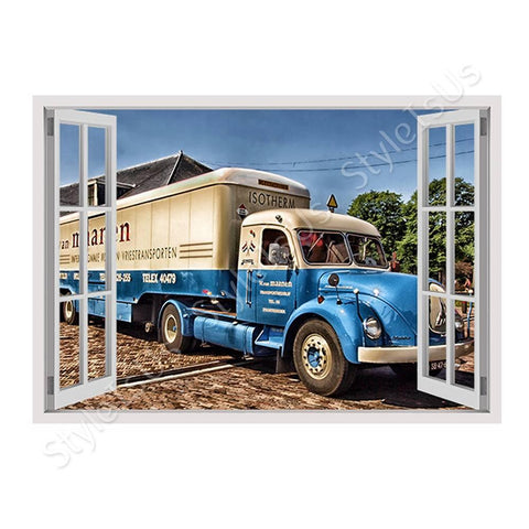 Fake 3D Window Classic Vintage Truck | Canvas, Posters, Prints & Stickers - StyleIsUS.com