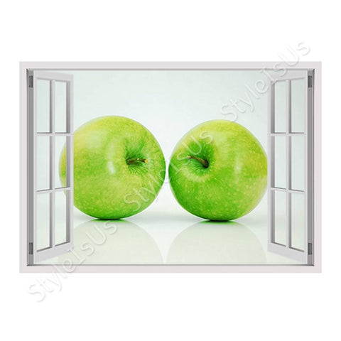 Fake 3D Window Green Healthy Apples | Canvas, Posters, Prints & Stickers - StyleIsUS.com