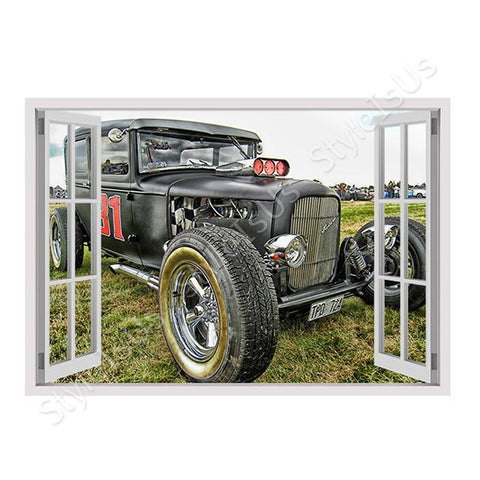 Fake 3D Window HDR Vintage Car | Canvas, Posters, Prints & Stickers - StyleIsUS.com