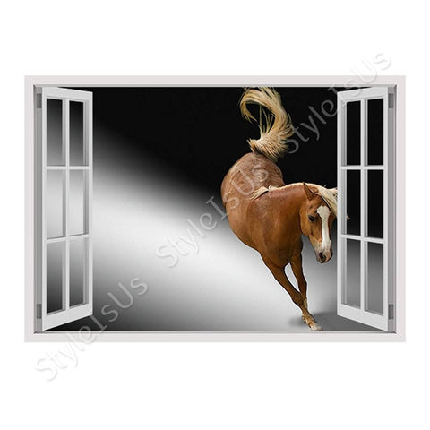 Fake 3D Window Horse Riding | Canvas, Posters, Prints & Stickers - StyleIsUS.com