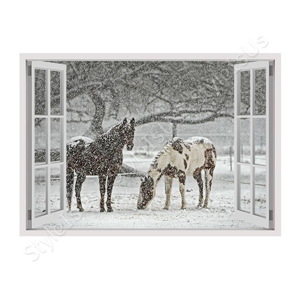 Fake 3D Window Horses in Winters Snow | Canvas, Posters, Prints & Stickers - StyleIsUS.com