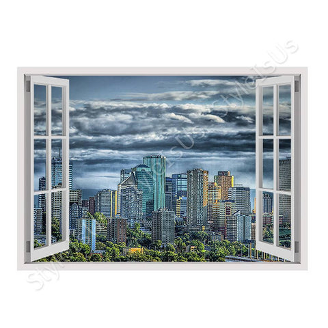 Fake 3D Window Skyline of Canada | Canvas, Posters, Prints & Stickers - StyleIsUS.com