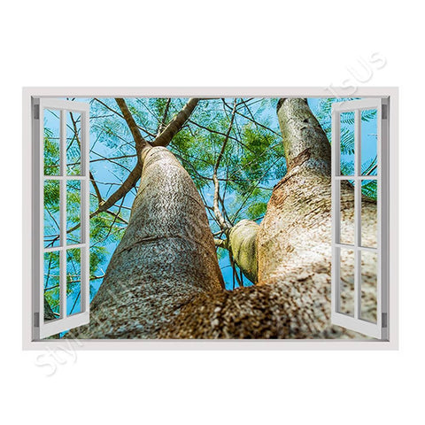 Fake 3D Window A Log in the nature | Canvas, Posters, Prints & Stickers - StyleIsUS.com