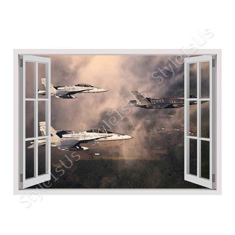 Fake 3D Window Fighter Jets in the clouds | Canvas, Posters, Prints & Stickers - StyleIsUS.com