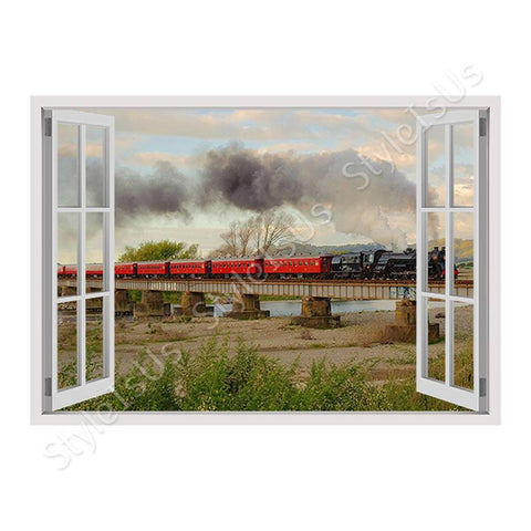 Fake 3D Window Train in a Scenic Landscape | Canvas, Posters, Prints & Stickers - StyleIsUS.com