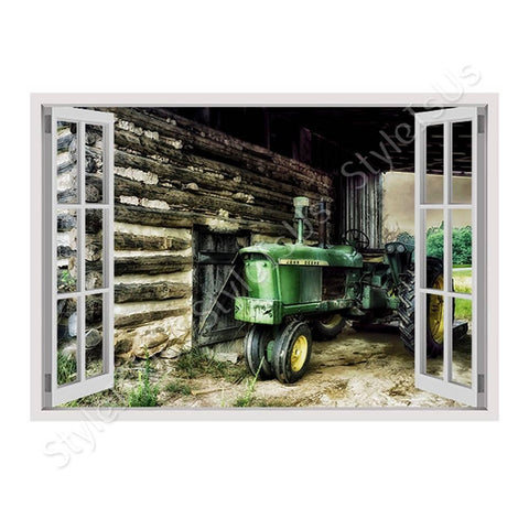 Fake 3D Window Barn Farms Logs | Canvas, Posters, Prints & Stickers - StyleIsUS.com