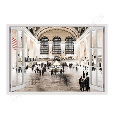 Fake 3D Window NYC Train Station | Canvas, Posters, Prints & Stickers - StyleIsUS.com