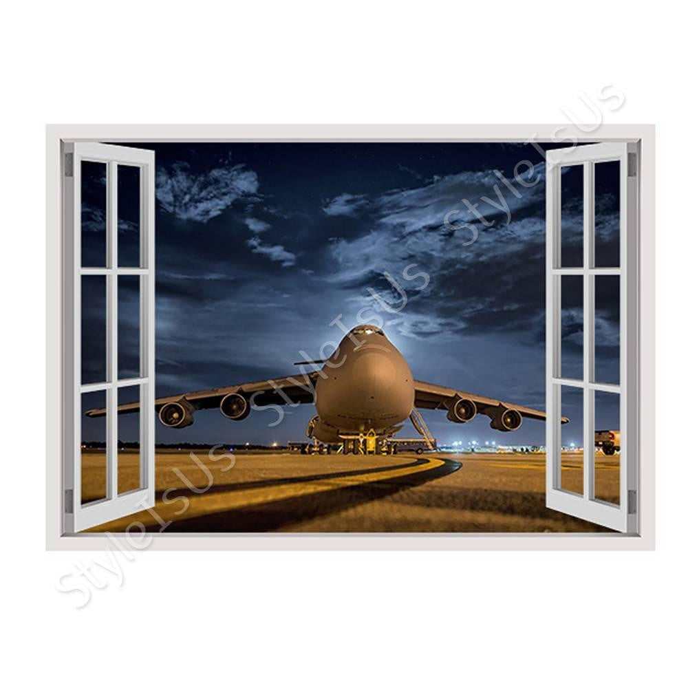 fake 3d window airplane about to take off canvas posters