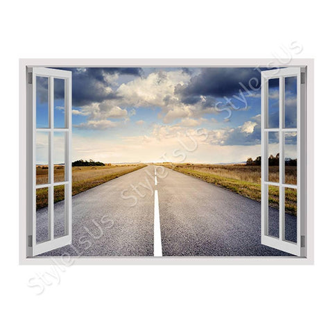 Fake 3D Window A road to the sky fall | Canvas, Posters, Prints & Stickers - StyleIsUS.com