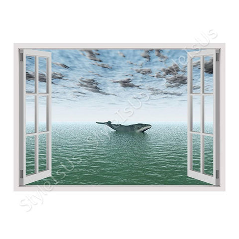 Fake 3D Window Whale in the deep ocean | Canvas, Posters, Prints & Stickers - StyleIsUS.com
