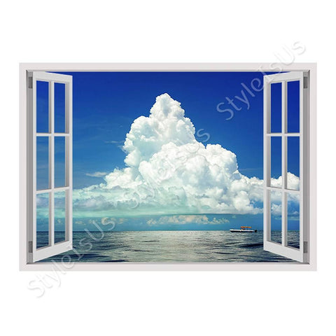 Fake 3D Window Clouds covering the Ocean | Canvas, Posters, Prints & Stickers - StyleIsUS.com