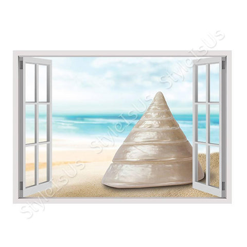 Fake 3D Window Sea Snail in his Shell | Canvas, Posters, Prints & Stickers - StyleIsUS.com