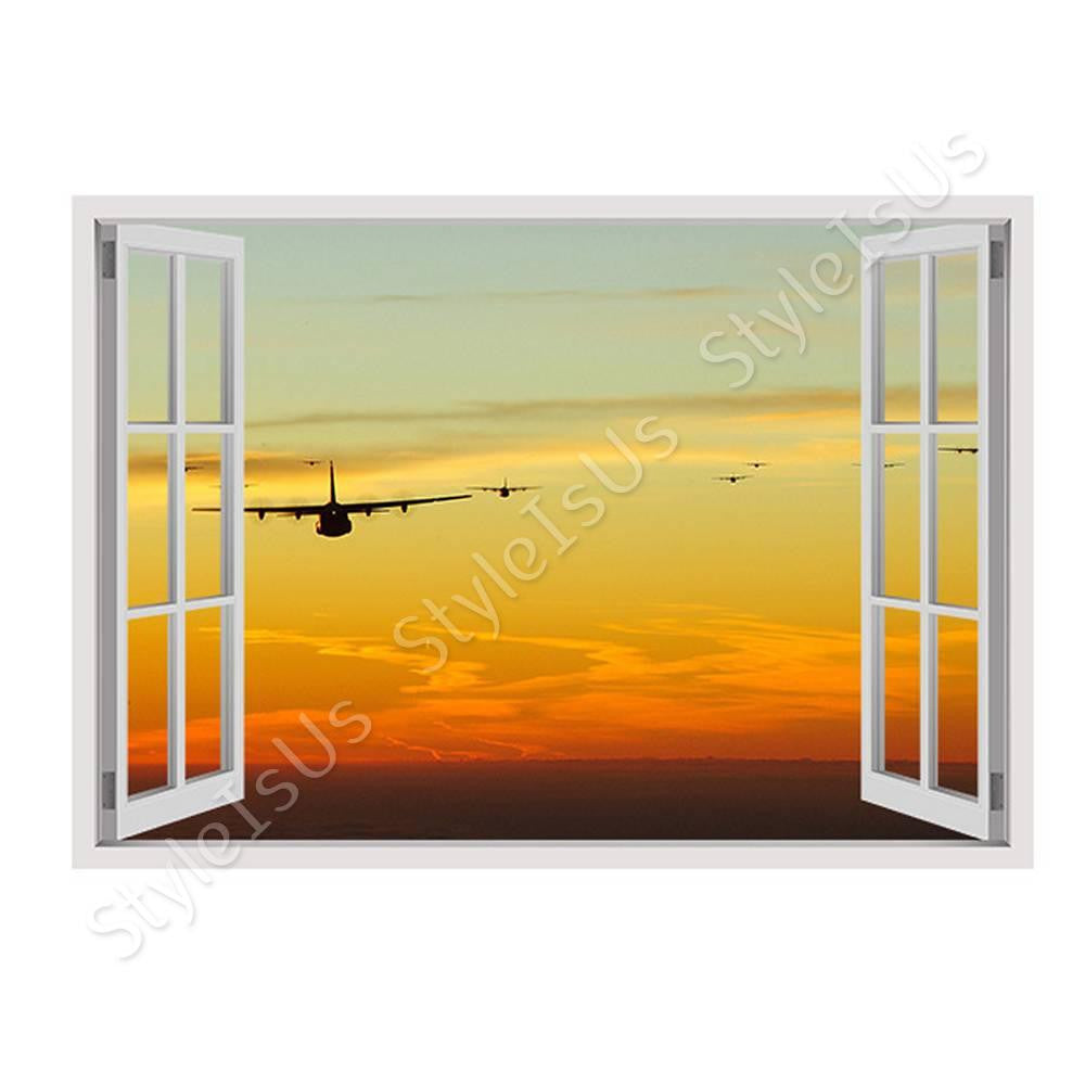 Fake 3D Window Planes jets in the sunset | Canvas, Posters, Prints ...