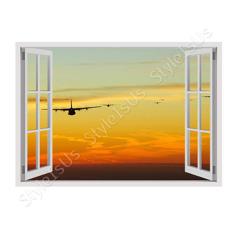 Fake 3D Window Planes jets in the sunset | Canvas, Posters, Prints & Stickers - StyleIsUS.com