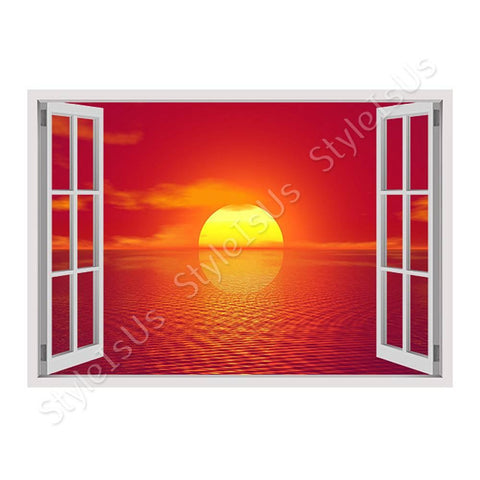 Fake 3D Window Sunset flying birds | Canvas, Posters, Prints & Stickers - StyleIsUS.com