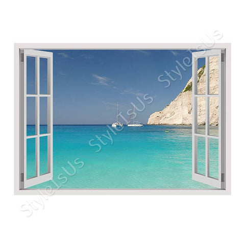 Fake 3D Window Zakhintos Beach On The Coast | Canvas, Posters, Prints & Stickers - StyleIsUS.com