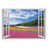 Fake 3D Window Colorful Flowers Field | Canvas, Posters, Prints & Stickers - StyleIsUS.com
