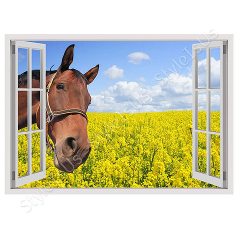 Fake 3D Window Horse in the field | Canvas, Posters, Prints & Stickers - StyleIsUS.com