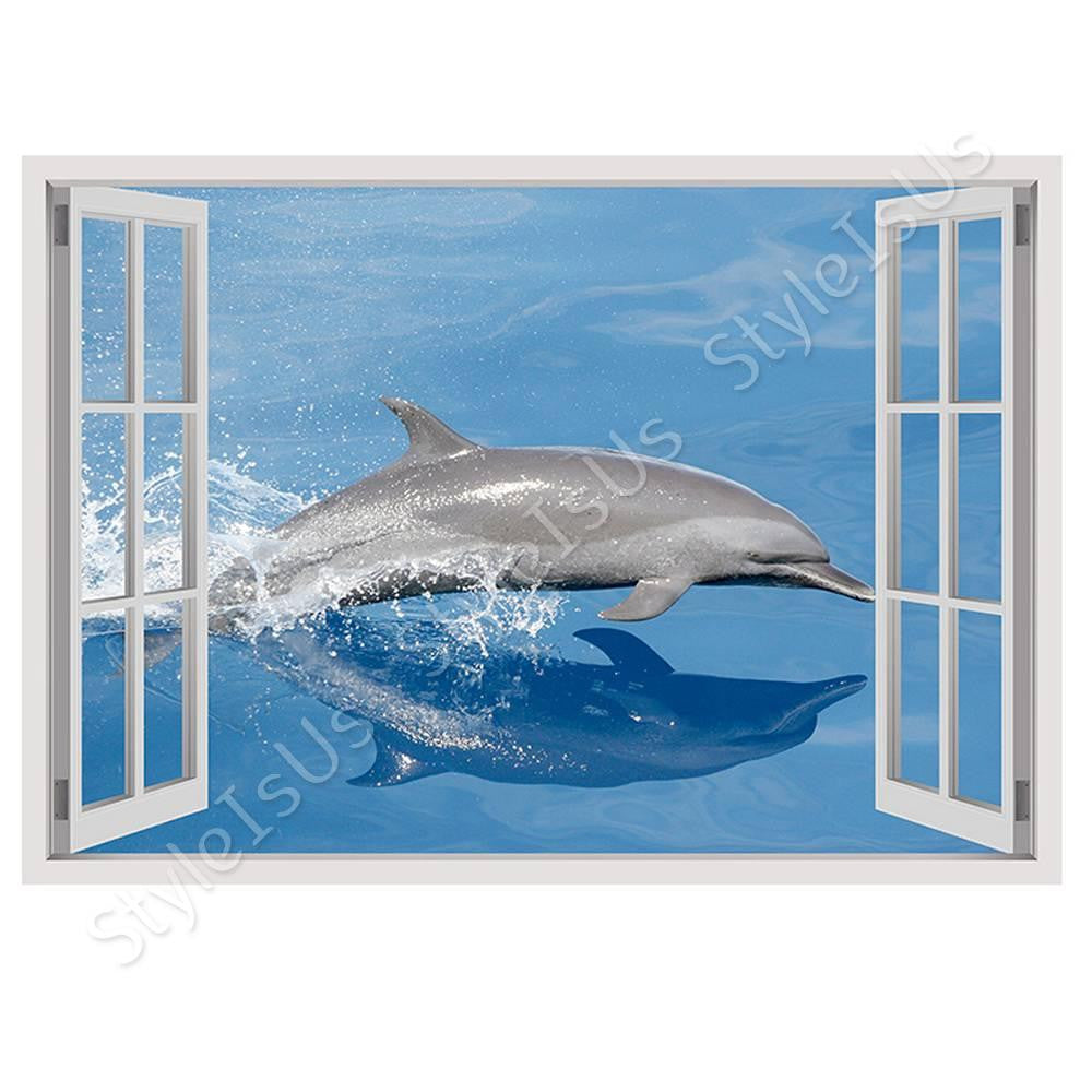 Fake 3D Window Dolphin | Canvas, Posters, Prints & Stickers - StyleIsUS.com