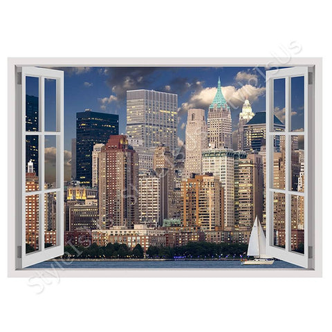 Fake 3D Window City landscape | Canvas, Posters, Prints & Stickers - StyleIsUS.com