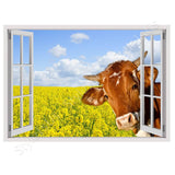 Fake 3D Window A cow at the field | Canvas, Posters, Prints & Stickers - StyleIsUS.com