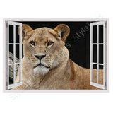 Fake 3D Window Lion | Canvas, Posters, Prints & Stickers - StyleIsUS.com