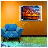 Fake 3D Window Red Sunset | Canvas, Posters, Prints & Stickers - StyleIsUS.com