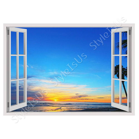Fake 3D Window Amazing Sunset | Canvas, Posters, Prints & Stickers - StyleIsUS.com