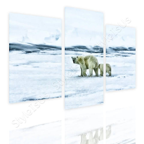 Split 3 panels Bears in the Arctic 3 Panels | Canvas, Posters, Prints & Stickers - StyleIsUS.com