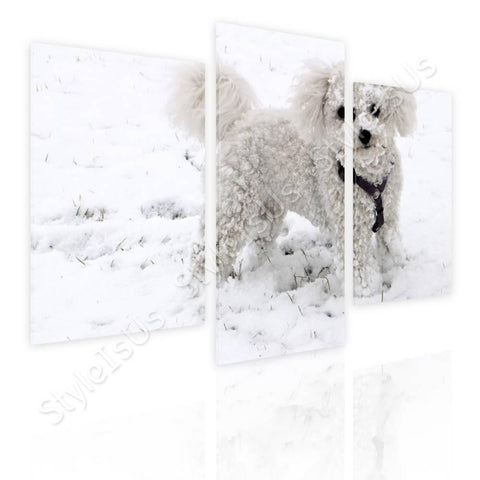Split 3 panels Dog in the snow 3 Panels | Canvas, Posters, Prints & Stickers - StyleIsUS.com