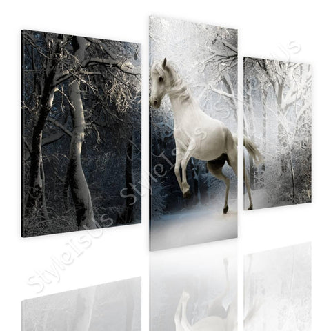 Split 3 panels Wild White Horse 3 Panels | Canvas, Posters, Prints & Stickers - StyleIsUS.com