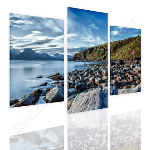 Split 3 panels A Lake on the Coast 3 Panels | Canvas, Posters, Prints & Stickers - StyleIsUS.com