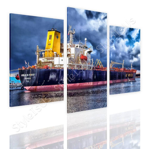 Split 3 panels Ship in a Port 3 Panels | Canvas, Posters, Prints & Stickers - StyleIsUS.com