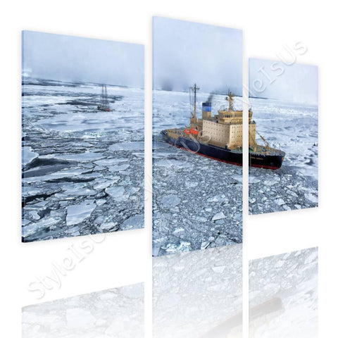 Split 3 panels Ship in the Antarctica 3 Panels | Canvas, Posters, Prints & Stickers - StyleIsUS.com