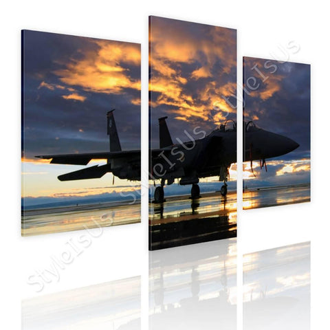 Split 3 panels Aircraft in the sunset 3 Panels | Canvas, Posters, Prints & Stickers - StyleIsUS.com