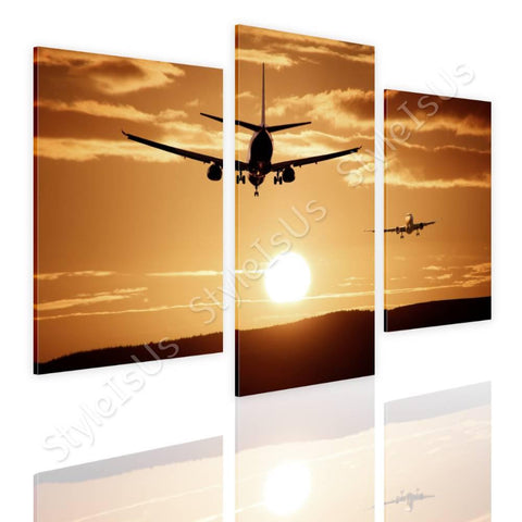 Split 3 panels Aircraft Landing 3 Panels | Canvas, Posters, Prints & Stickers - StyleIsUS.com