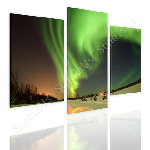 Split 3 panels Auroras Wilderness 3 Panels | Canvas, Posters, Prints & Stickers - StyleIsUS.com