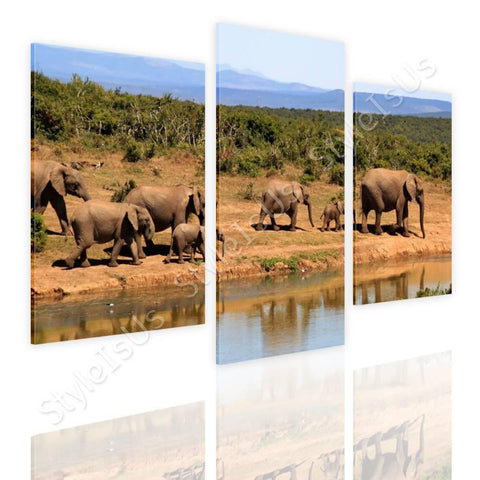 Split 3 panels African Elephants 3 Panels | Canvas, Posters, Prints & Stickers - StyleIsUS.com