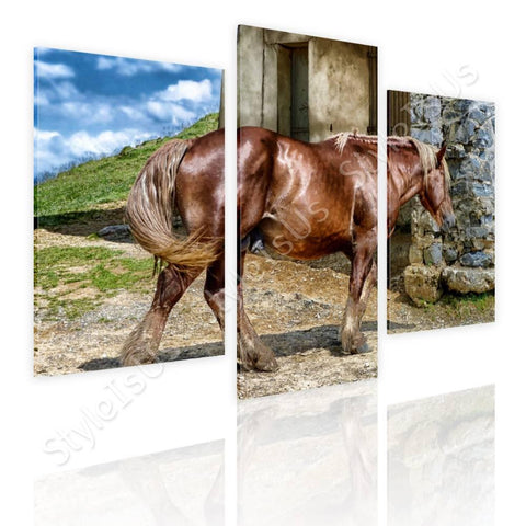 Split 3 panels Brown Horse on Field 3 Panels | Canvas, Posters, Prints & Stickers - StyleIsUS.com